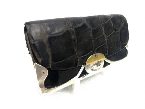 Antique Crocodile Skin Leather Purse With Silver London Hallmark 1901 / EHP